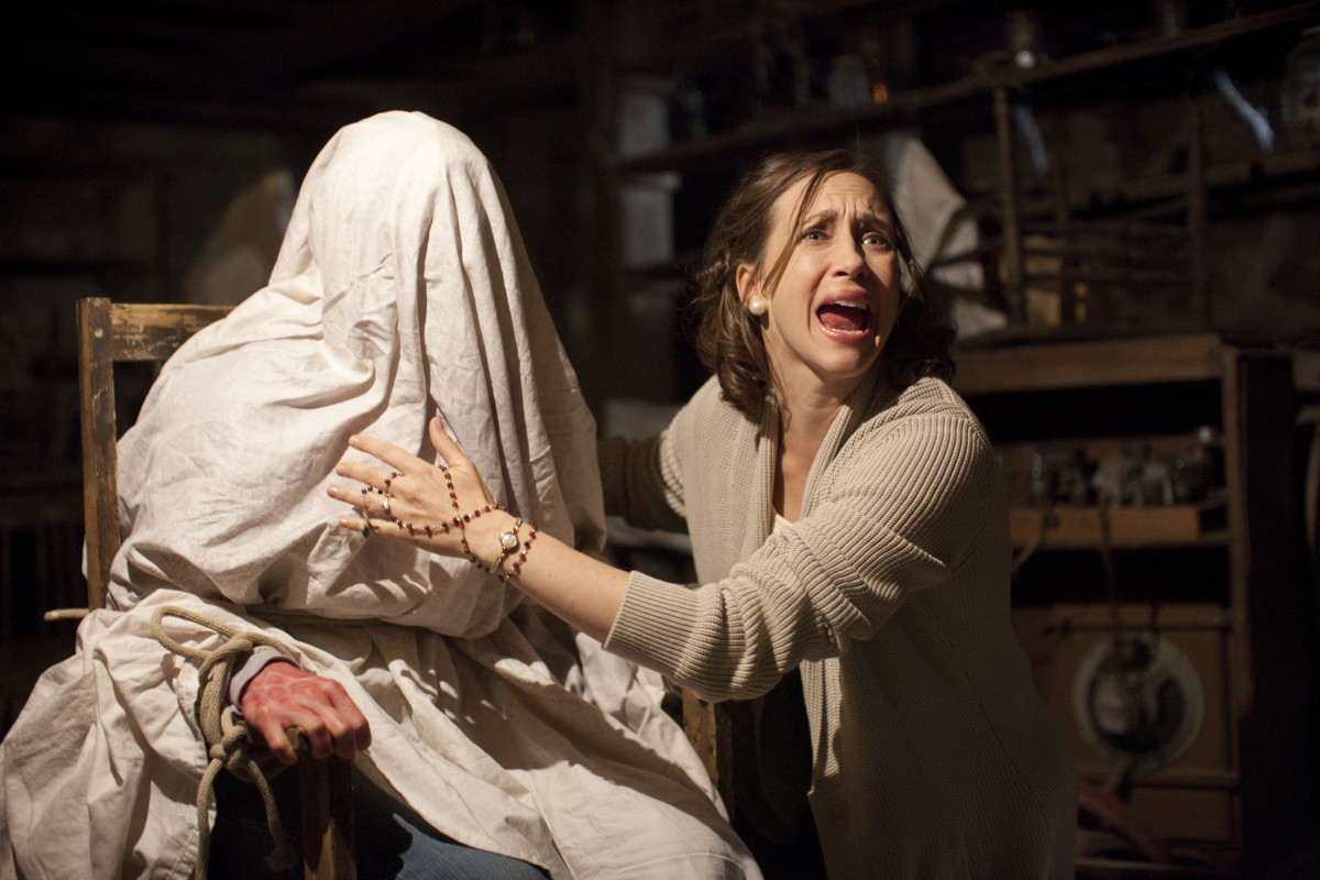 At the midpoint of The Conjuring (2013), Ed and Lorraine Warren shift their focus to the mother of the house, who has unexpectedly fallen victim to an otherworldly possession.