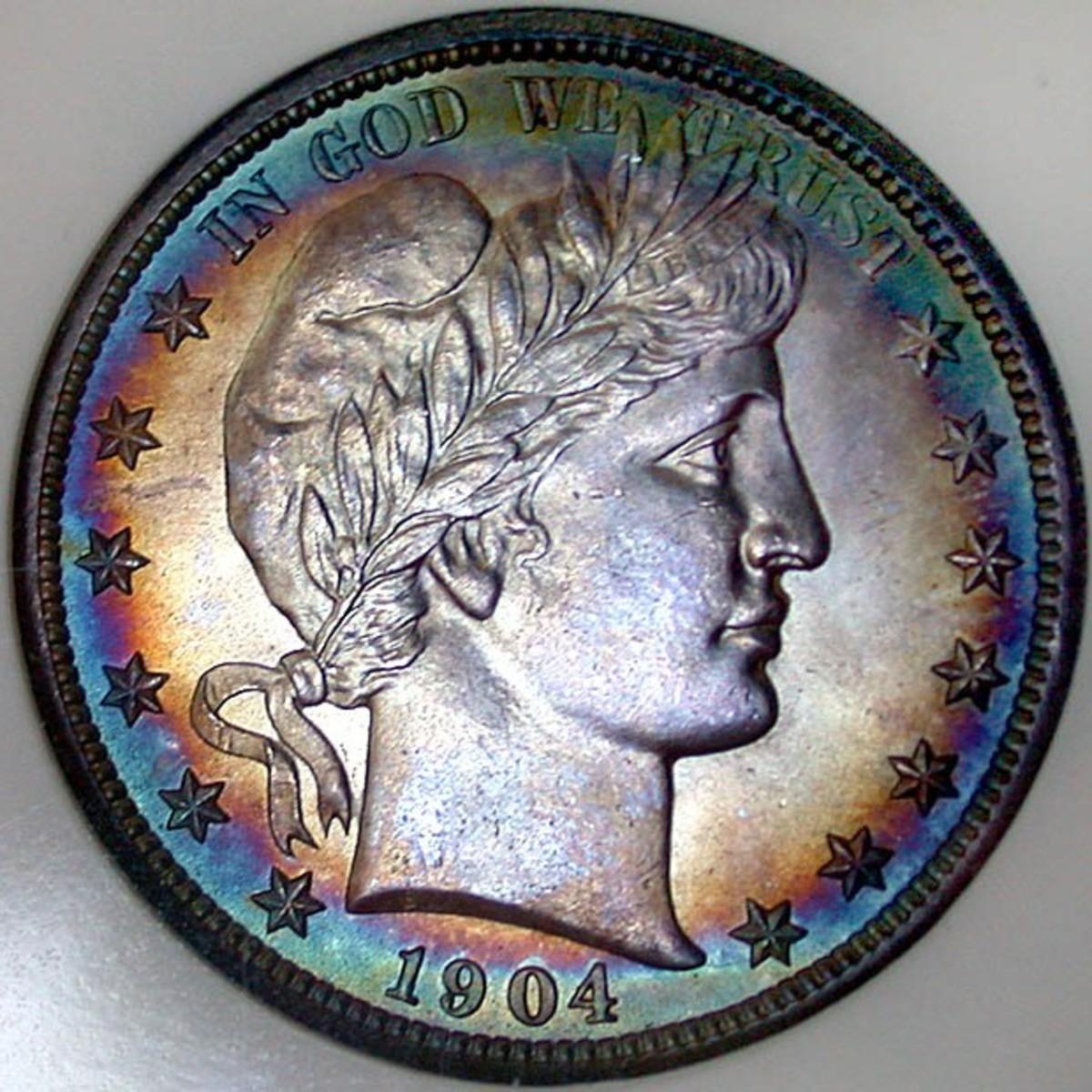 1904 Barber Half Dollar Obverse. Photo Courtesy: coinpage.com