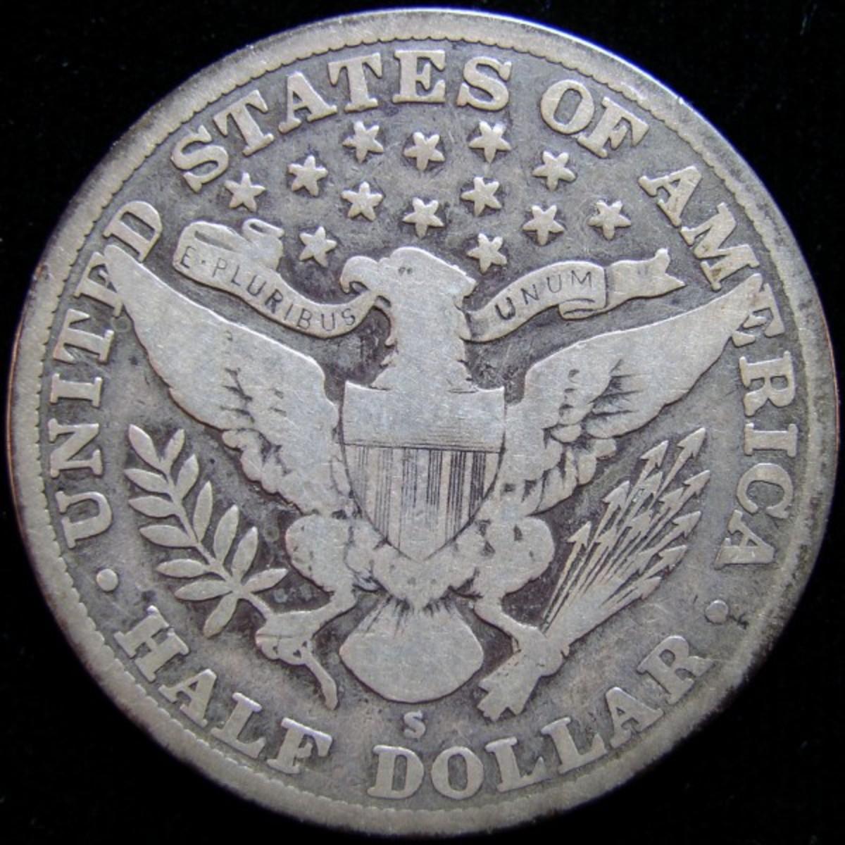 Above Photos: Circulated Barber Half Dollar showing San Francisco Mintmark. Photo Courtesy: coinpage.com