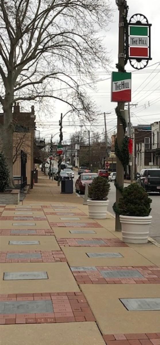 Memorial walk surrounding St. Ambrose Church, Marconi Avenue side