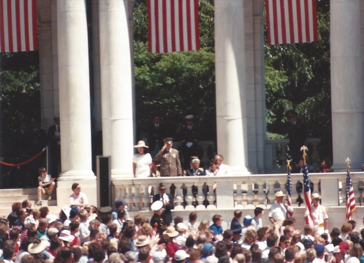 Memorial Day ceremony, May 1989.  The German Democratic Republic military attaché renders a hand salute.