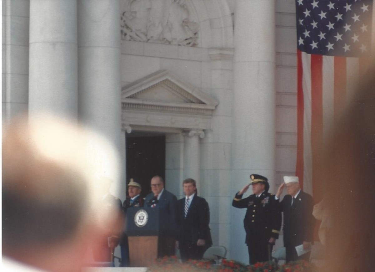 Memorial Day ceremony, May 1989.  Vice-President Dan Quayle is in attendance.