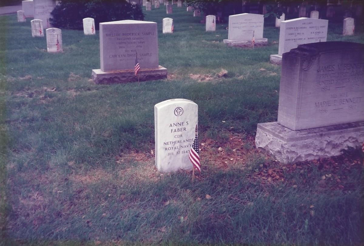 The grave of Commander Anne S. Faber, Netherlands Royal Navy.  Arlington National Cemetery, VA. 1990.