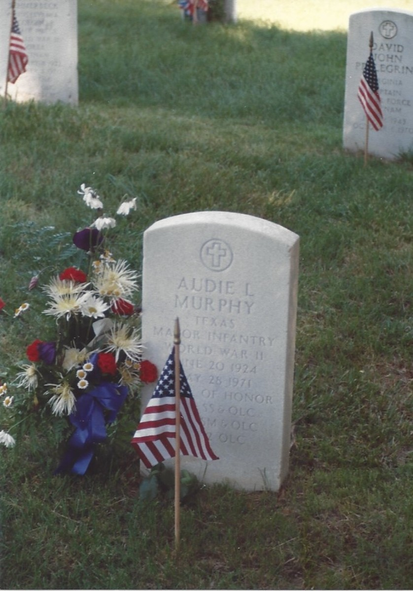 Grave of Major Audie L. Murphy, Medal of Honor winner and is often considered the most highly decorated U.S. soldier.  Normally Medal of Honor winners have the etching in gold.