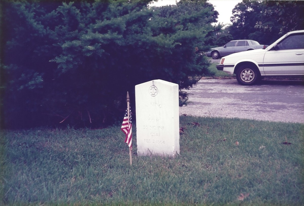 Grave of A. King, Confederate States of America, He died on February 2, 1864.