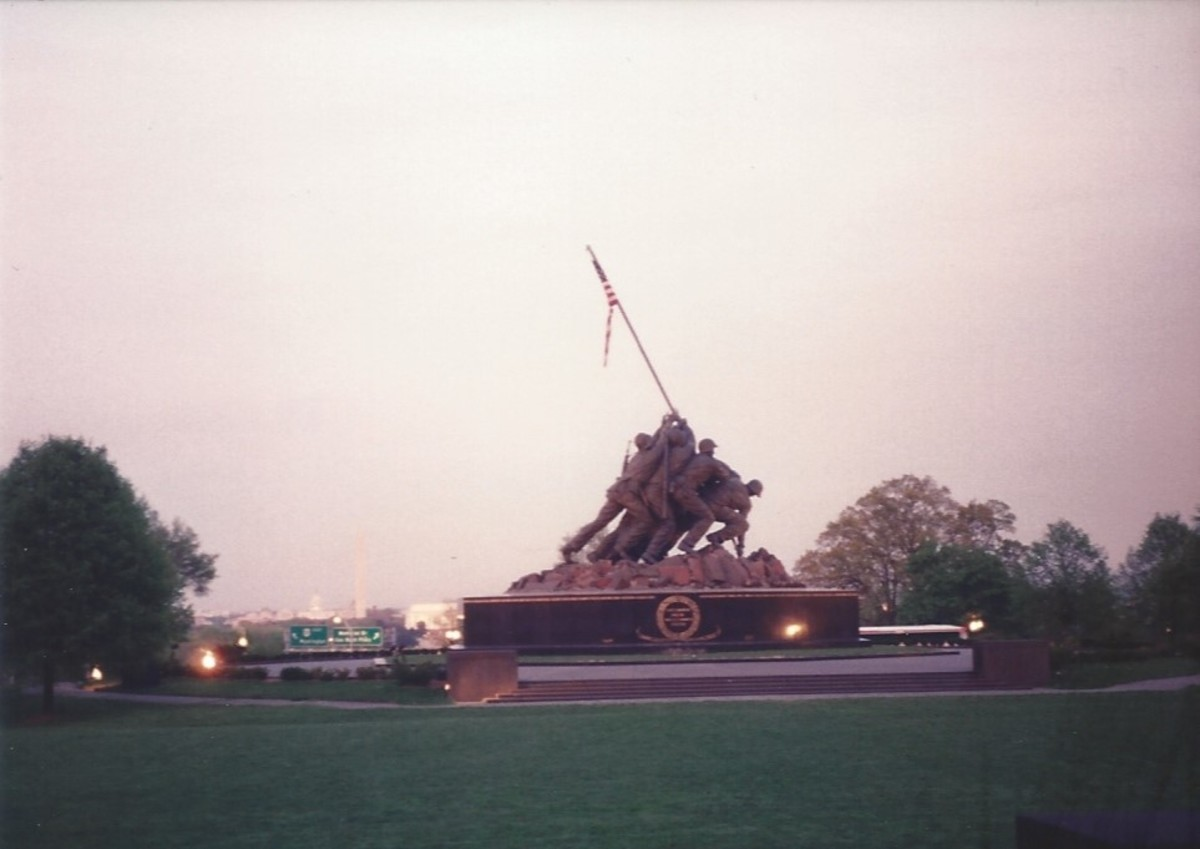 The Marine Corps War Memorial with Washington, DC in the background.