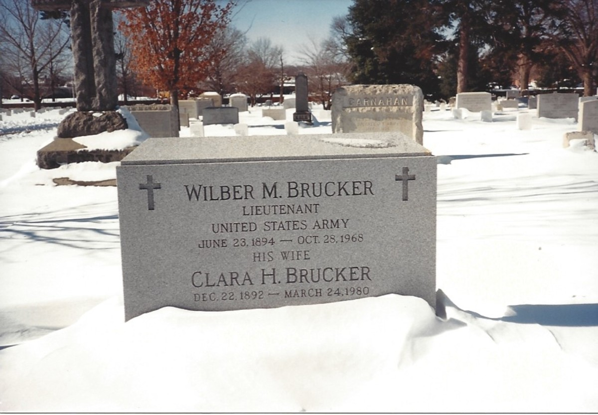 The grave of Lieutenant Wilbur M. Brucker and his spouse Clara, January 1987.