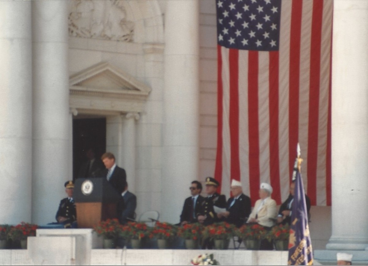 Vice-President Dan Quayle speaking at Memorial Day service, Arlington National Cemetery, May 1989.
