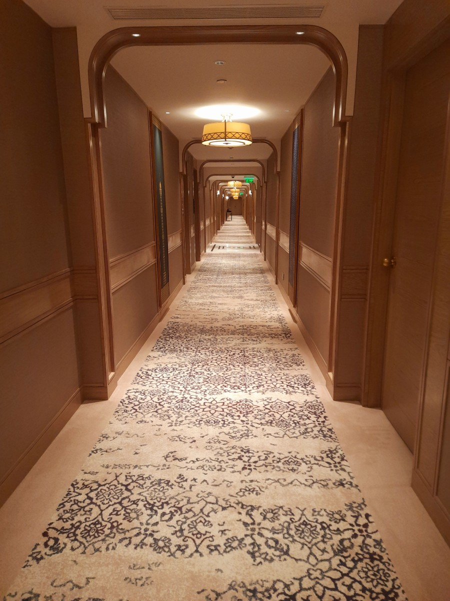 The corridor leading to the Presidential suites, and luxury rooms.