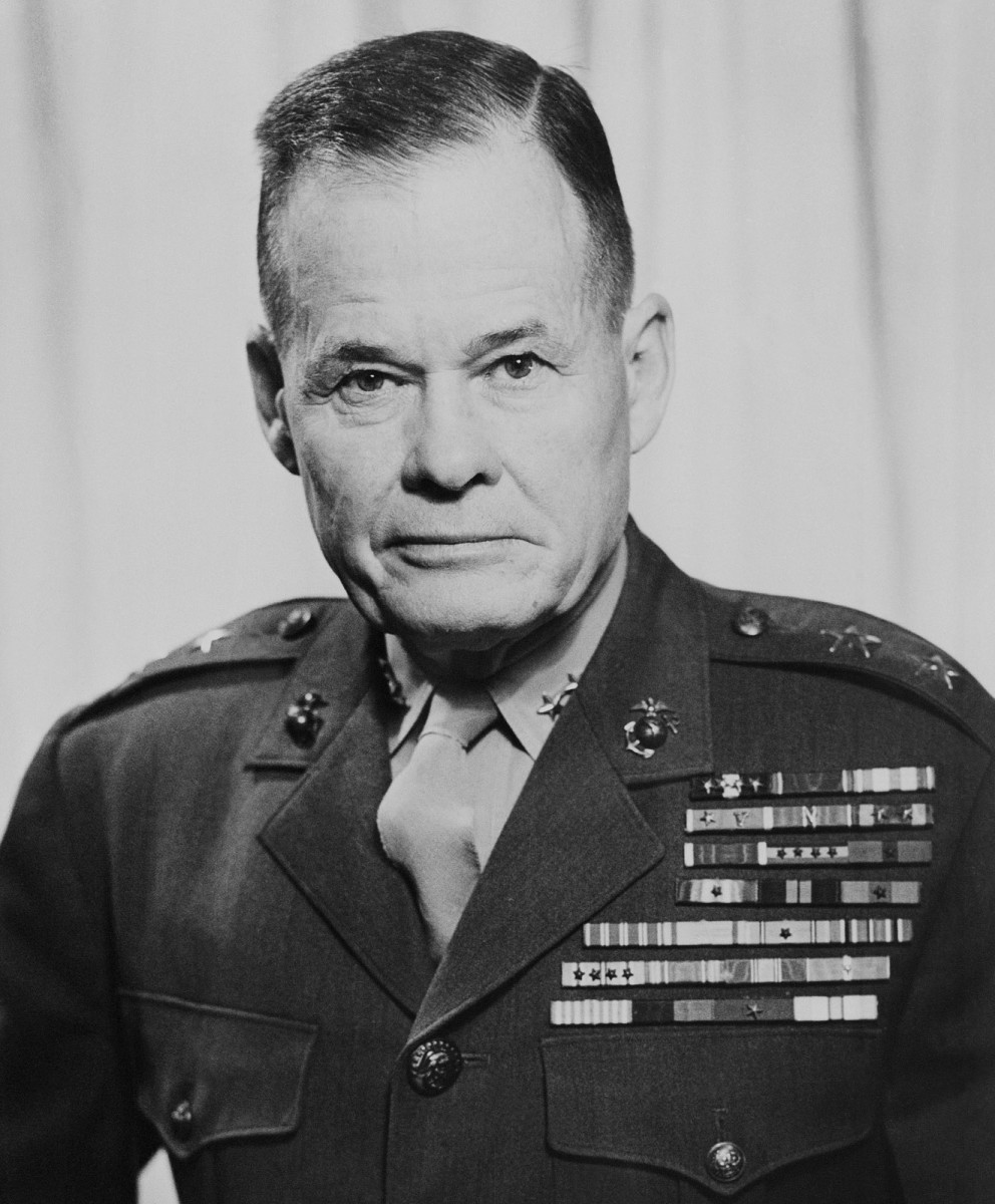 """A Marine's Marine...In fact Marines still say: """"Good night, Chesty Puller...Wherever you are!"""" He is the most decorated U.S. Marine in History with five Navy Crosses and a Distinguished Service Cross."""