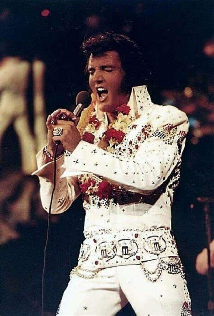 """Elvis Presley, January 1973: """"Aloha from Hawaii"""" concert was the world's first live concert satellite broadcast."""