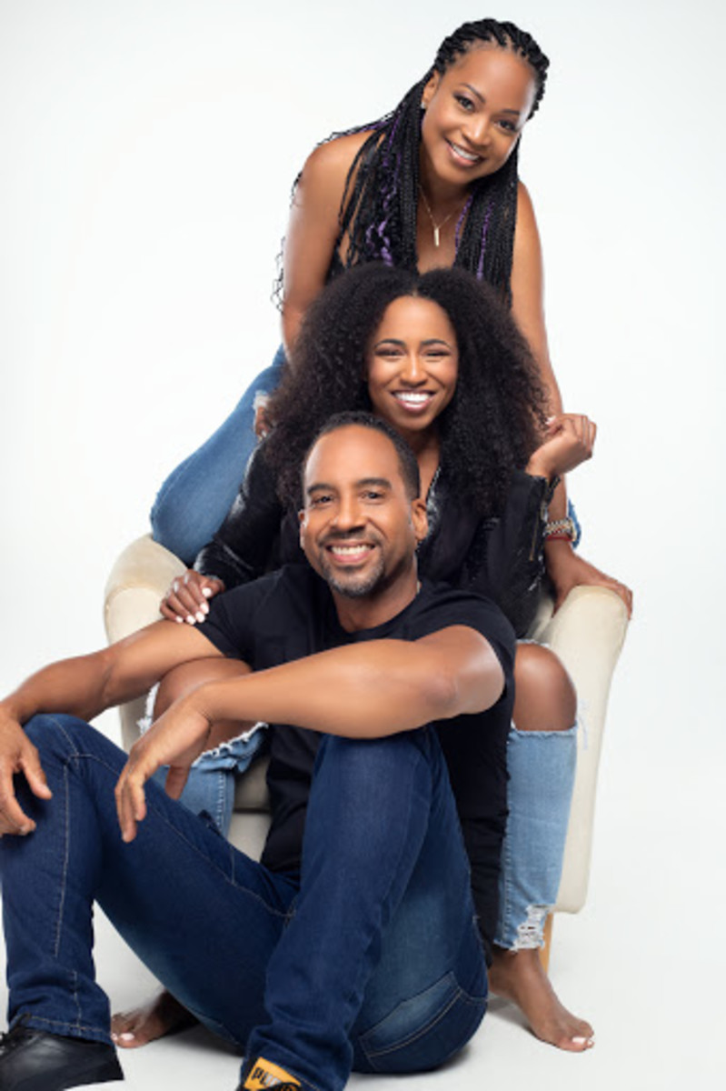 Martin pictured here with co-stars from 'All That Matters' Monyetta Shaw and Pamela Ricardo.