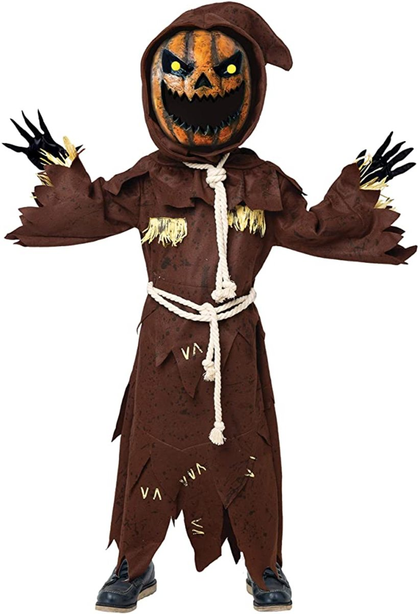 Scary Scarecrow Pumpkin Bobble Head Costume with pumpkin Halloween mask for kids role playing