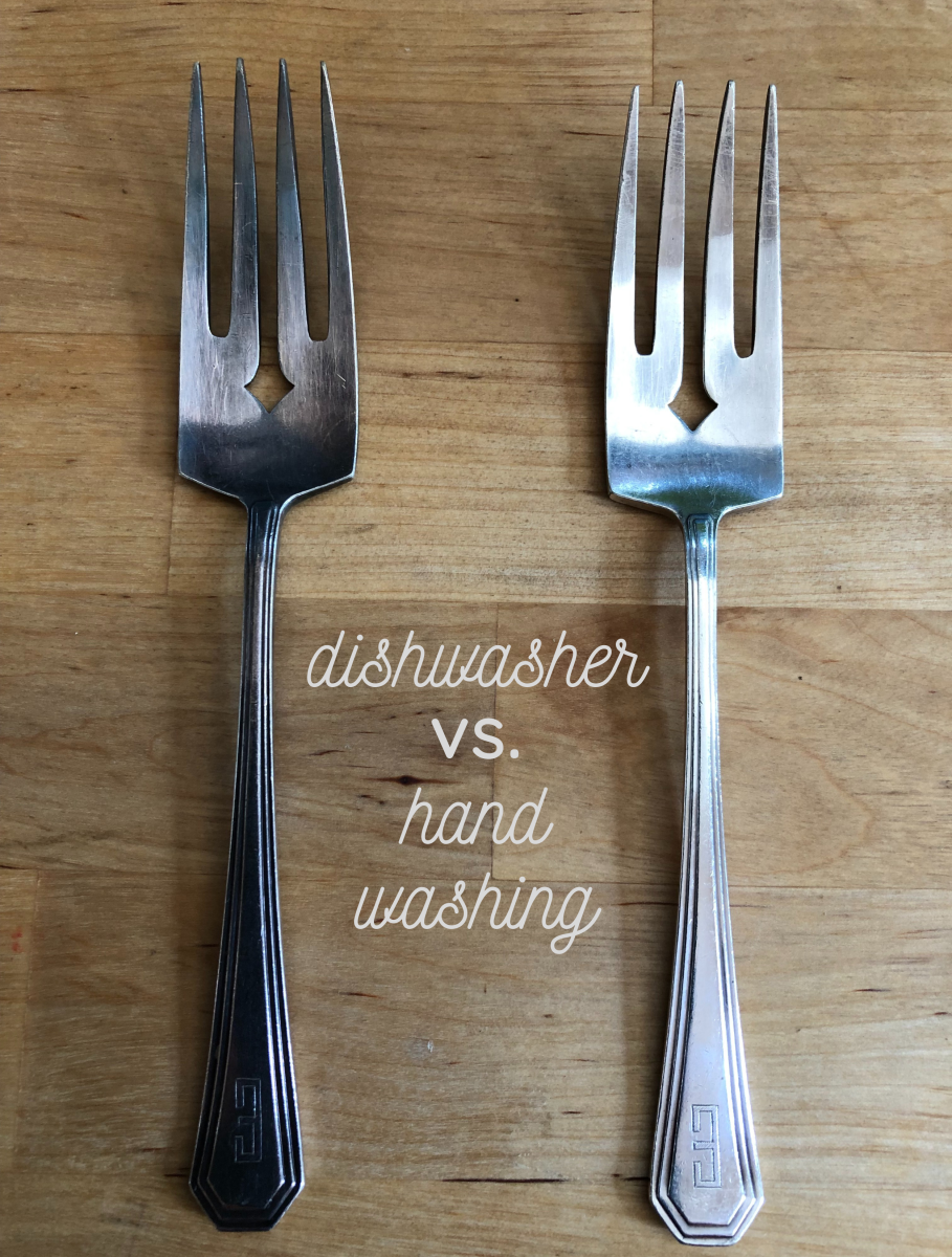 The fork on the left has always been washed in the dishwasher and never hand-dried: The one on the right has been hand-washed and dried only.