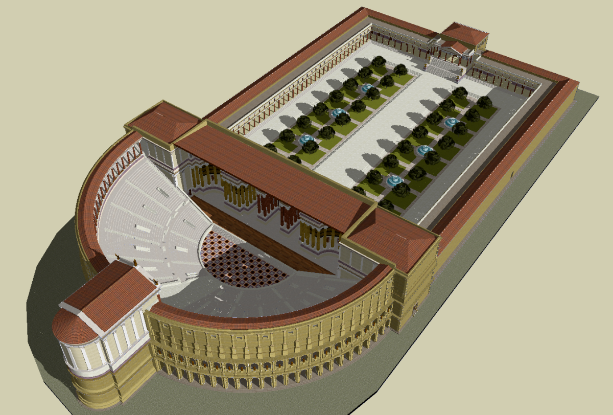 """""""File:Theatre of Pompey Sketch up model.png"""" by Lasha Tskhondia - L.VII.C. (model creator) from a screen capture by Mark Miller is licensed under CC BY-SA 3.0"""