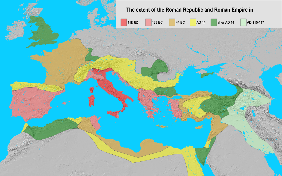 """""""File:Extent of the Roman Republic and the Roman Empire between 218 BC and 117 AD.png"""" by Varana is licensed under CC BY-SA 3.0"""