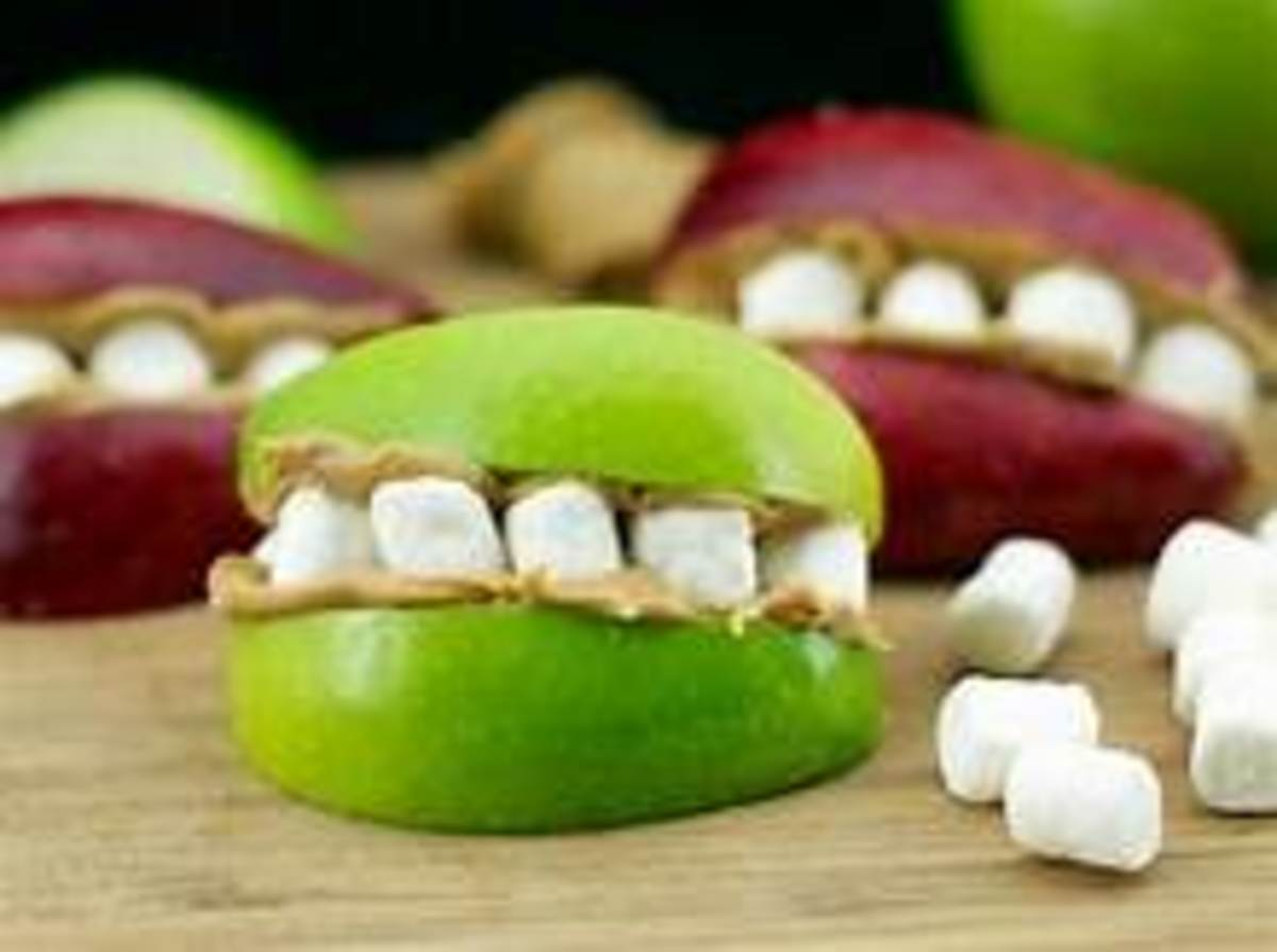 apples, marshmallows, and peanut butter