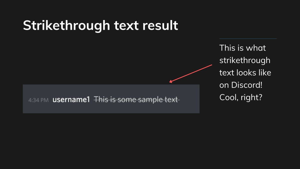Here is what crossout or strikethrough text looks like on Discord!