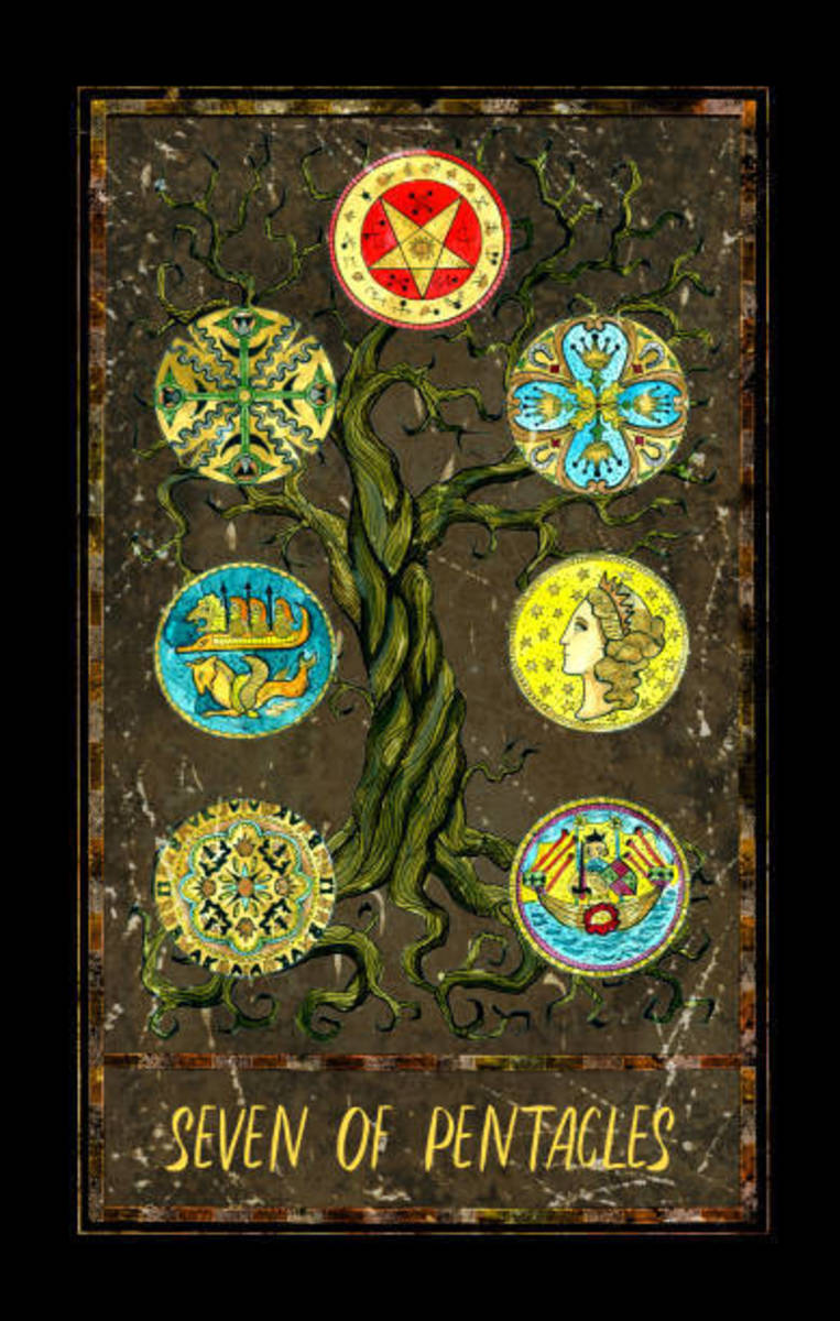 Seven of Pentacles represents the results of hard work. Seven is meant for a day of rest and review. Treat yourself to something special for staying dedicated to your work. Perseverance pays off.