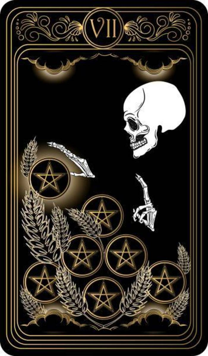 Seven in tarot is often associated with strain and growth. Seven indicates you're on a path to self-actualization but certain steps need to be taken. It's a checkpoint number on the way to ten.