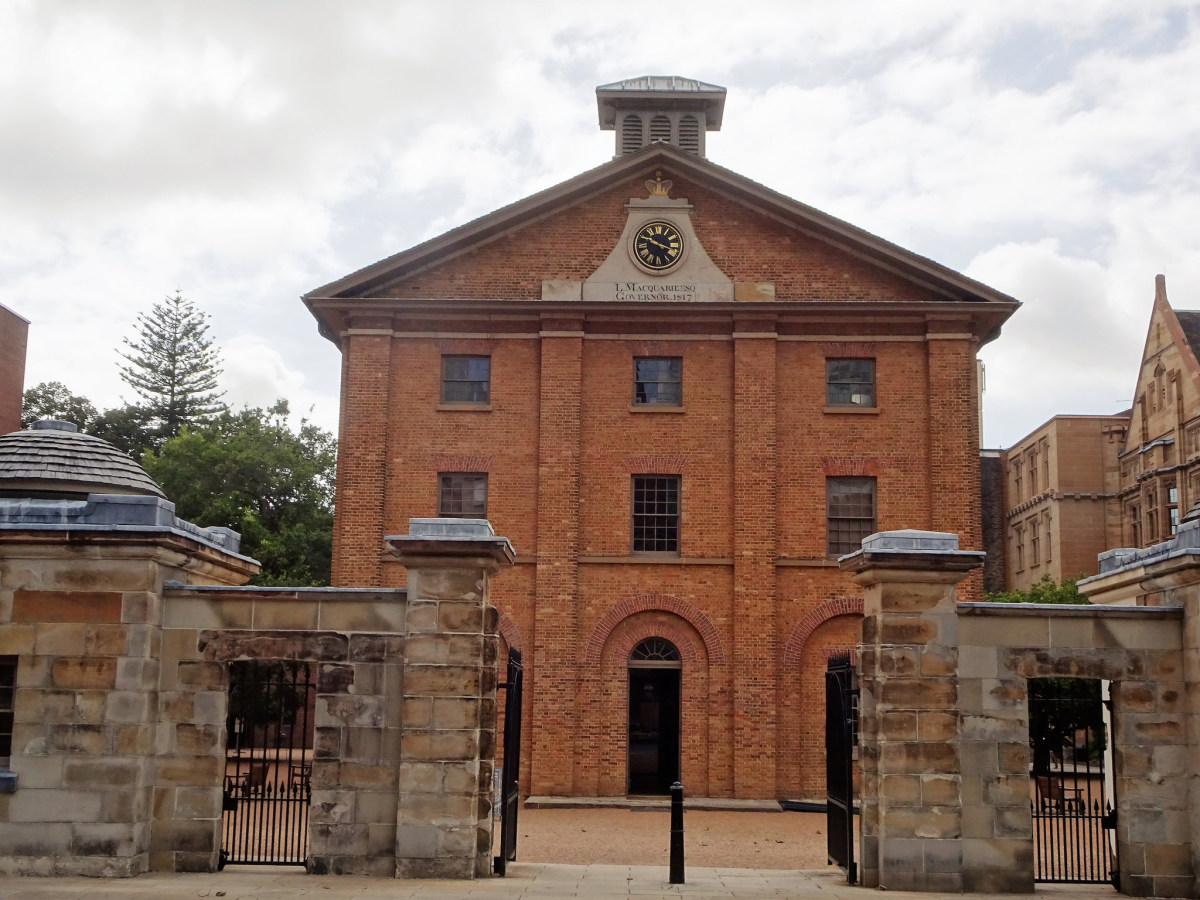 Sydney. Hyde Park Barracks built 1817 to 1819. Ex convict Francis Greenway was the architect. Georgian in style. It housed convicts waiting to be assigned to work gangs. The clock is the oldest in Australia.