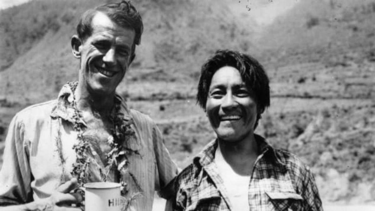 Sir Edmund Hillary and the Sherpa, Tenzing Norgey, who climbed Mount Everest for the first time in history