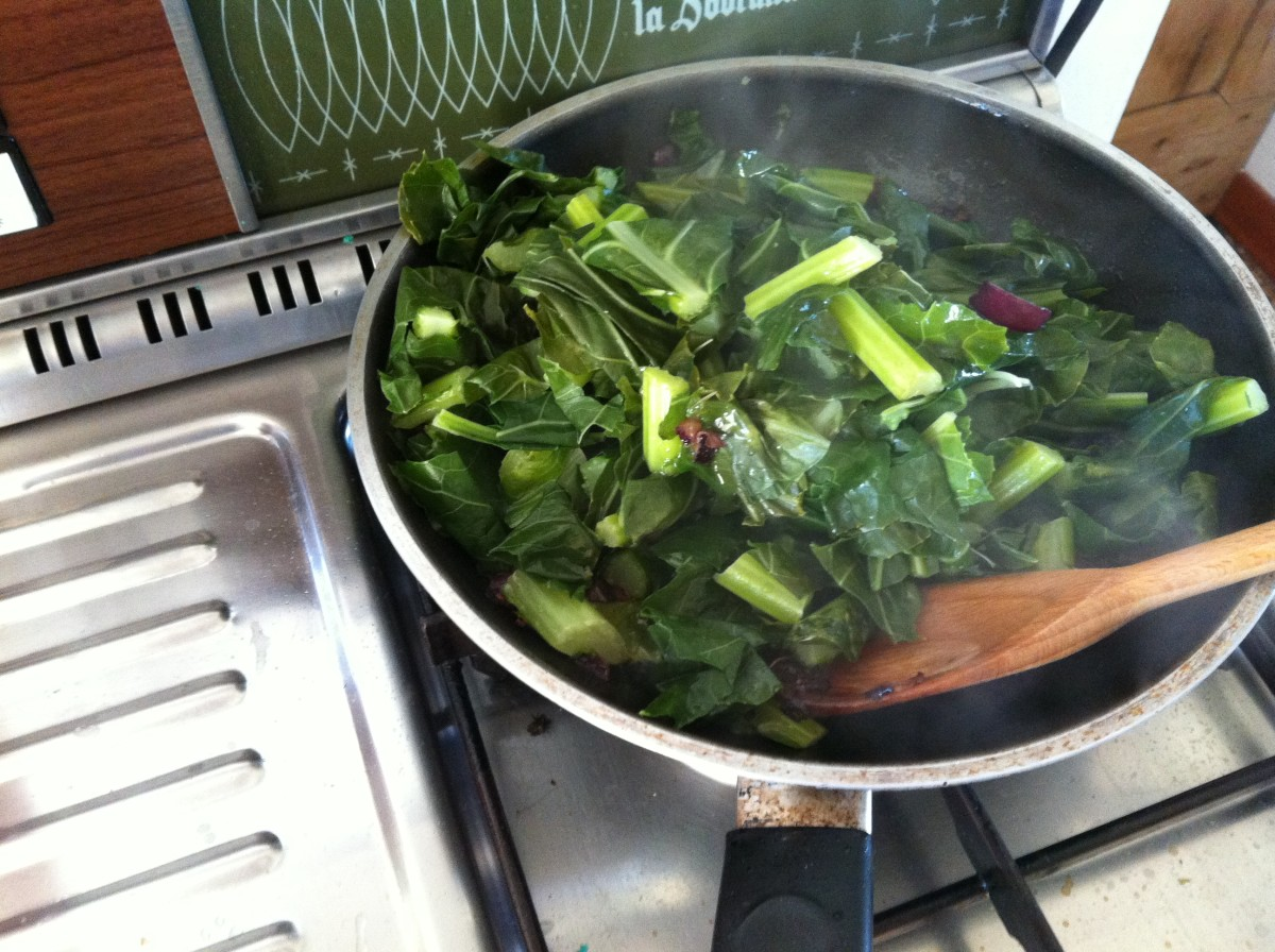 Mix the greens in with  the onions in oil