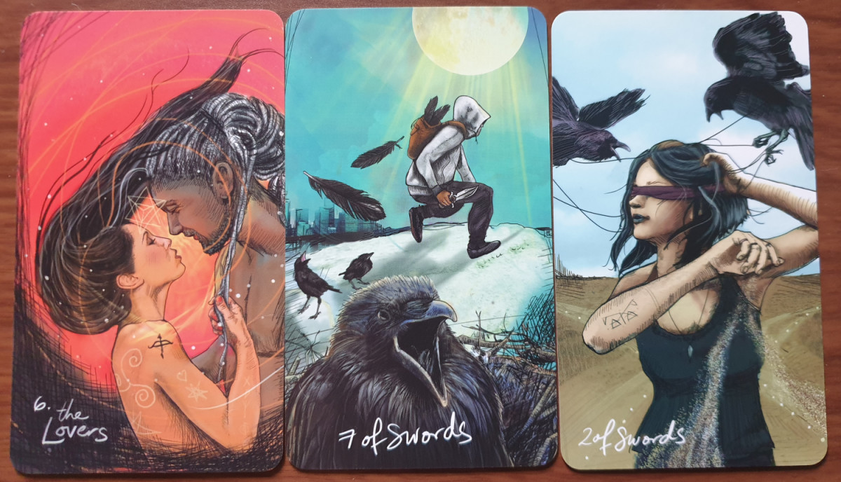 The Lovers, Seven of Swords and Two of Swords from the Light Seer's Tarot. Photo by author.