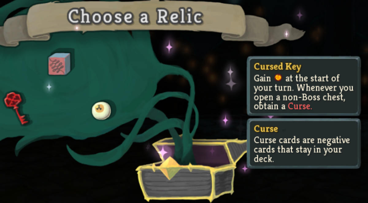 The Cursed key relic at the end of a boss fight.