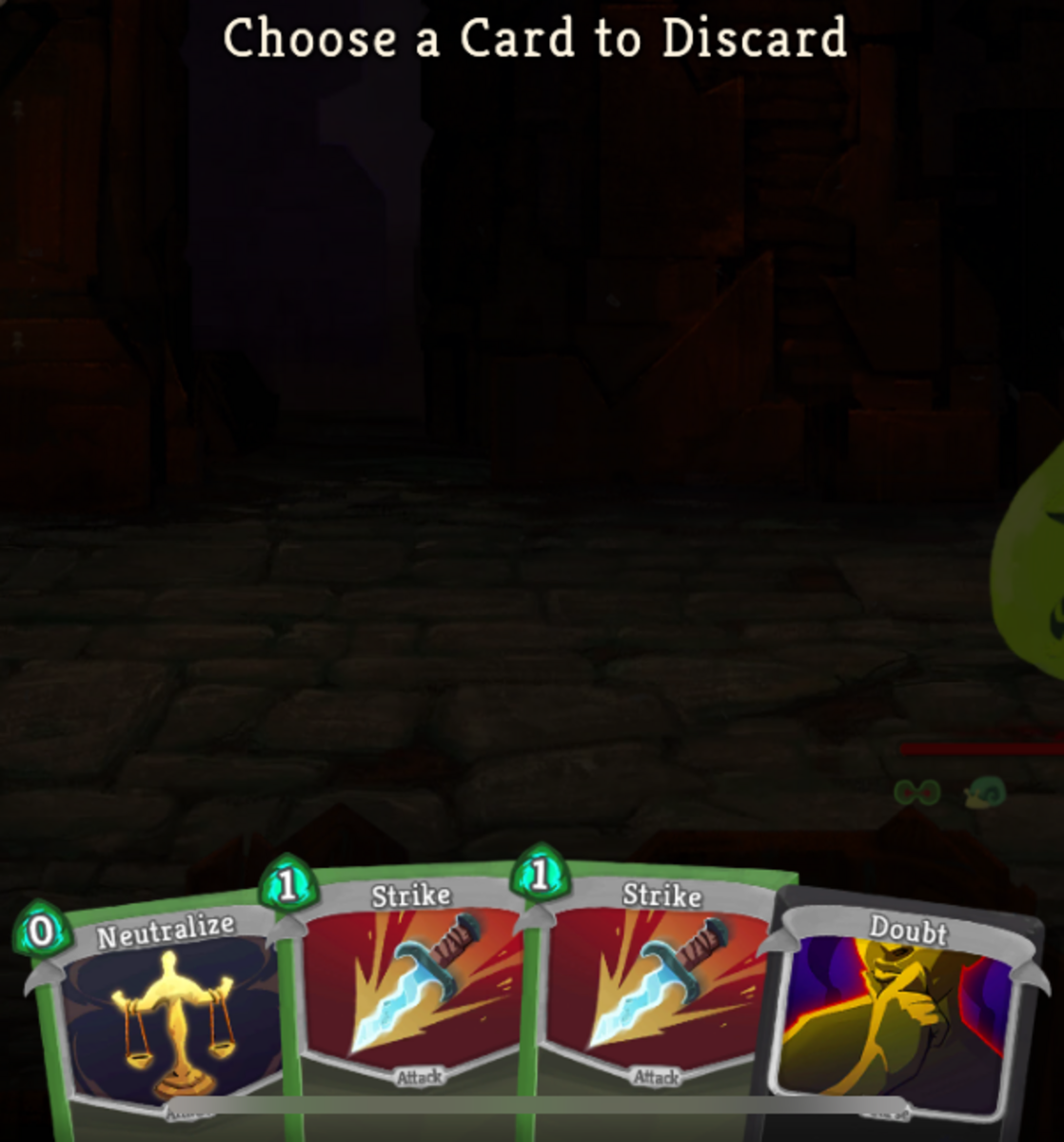 I can pick a curse card to discard.
