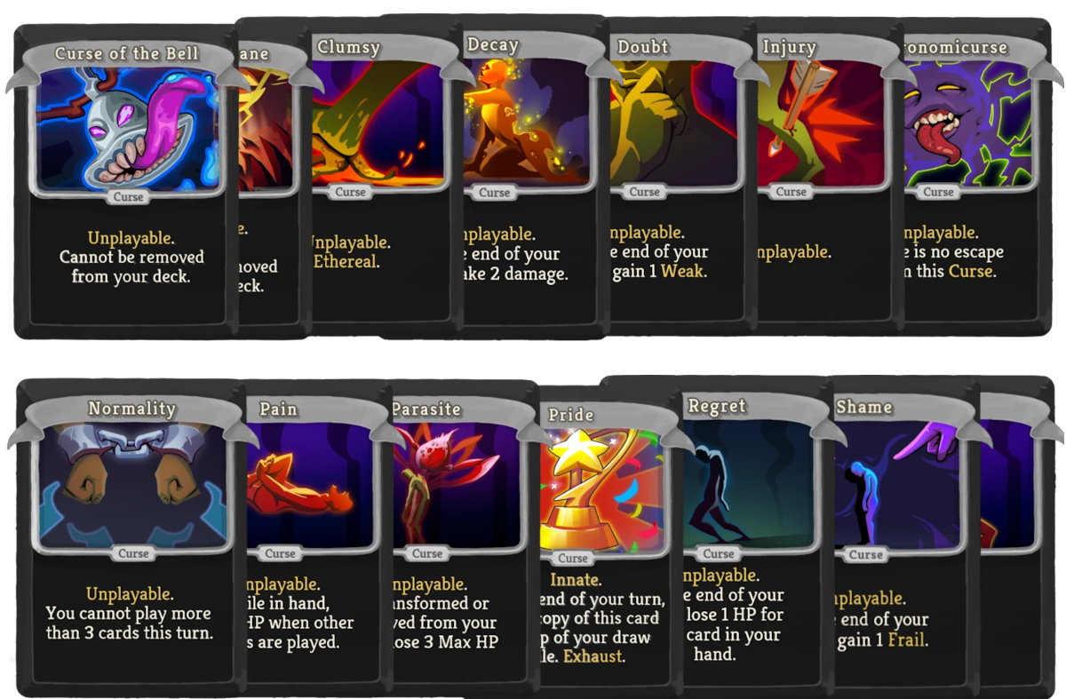 All the curse cards in Slay the Spire.