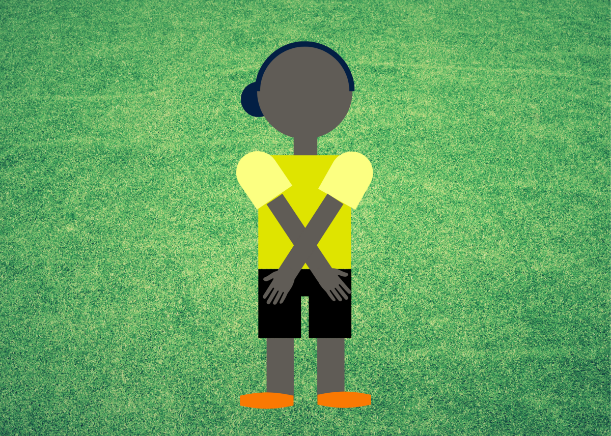 The referee will cross their hands to disallow a goal.