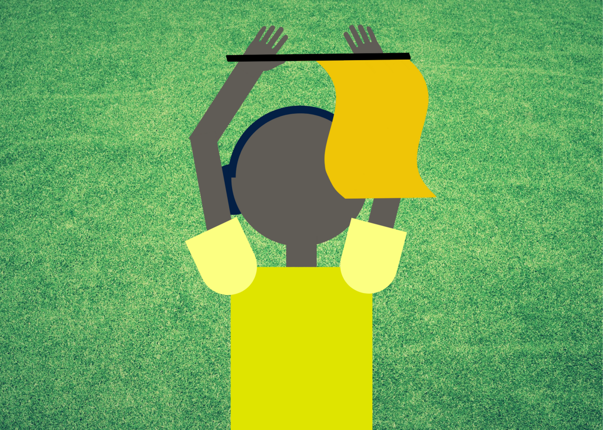 When the assistant referee raises their flag with both hands, it signals an impending substitution.