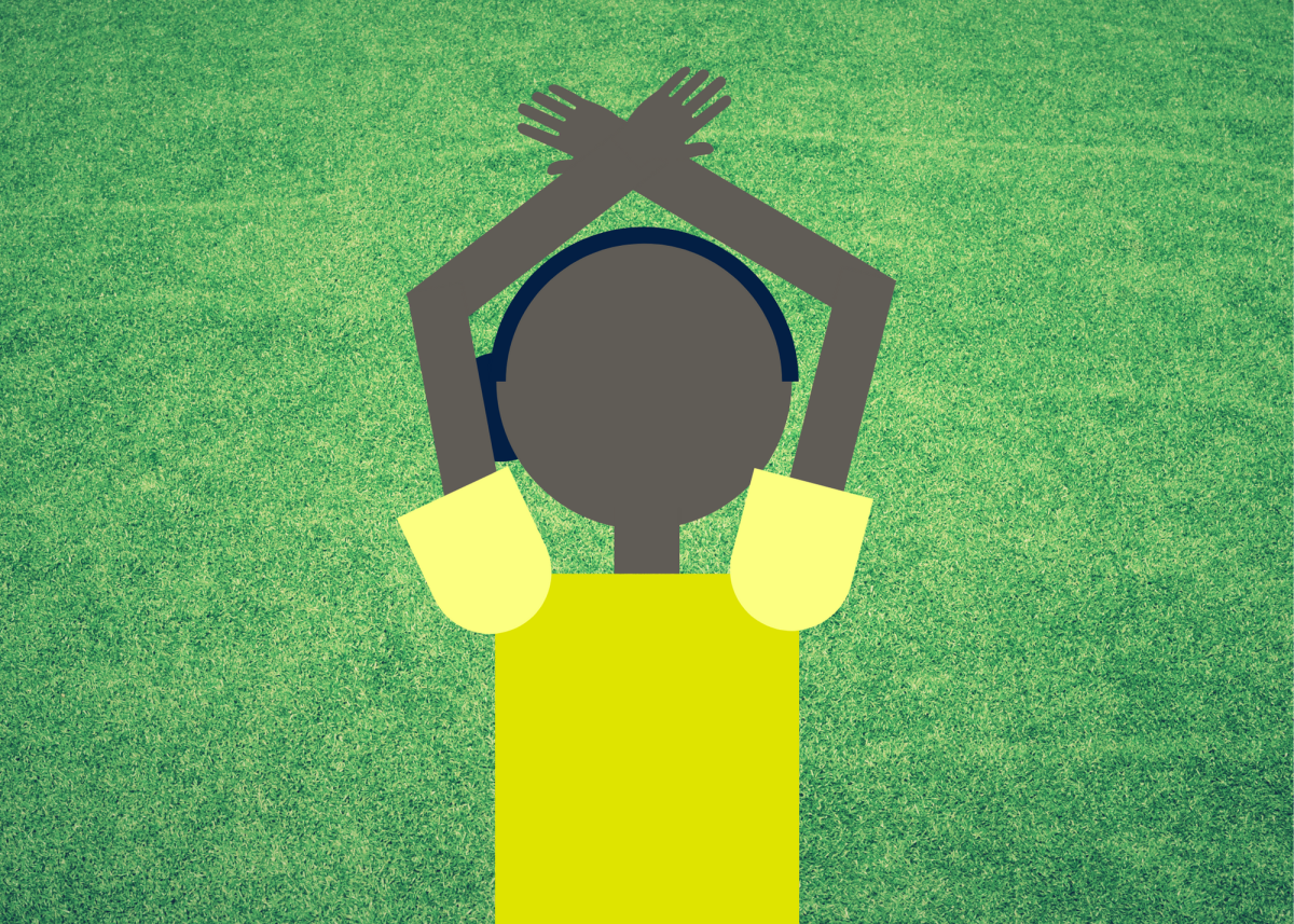 When the ref crosses their hands above their head, it signals a time-out.