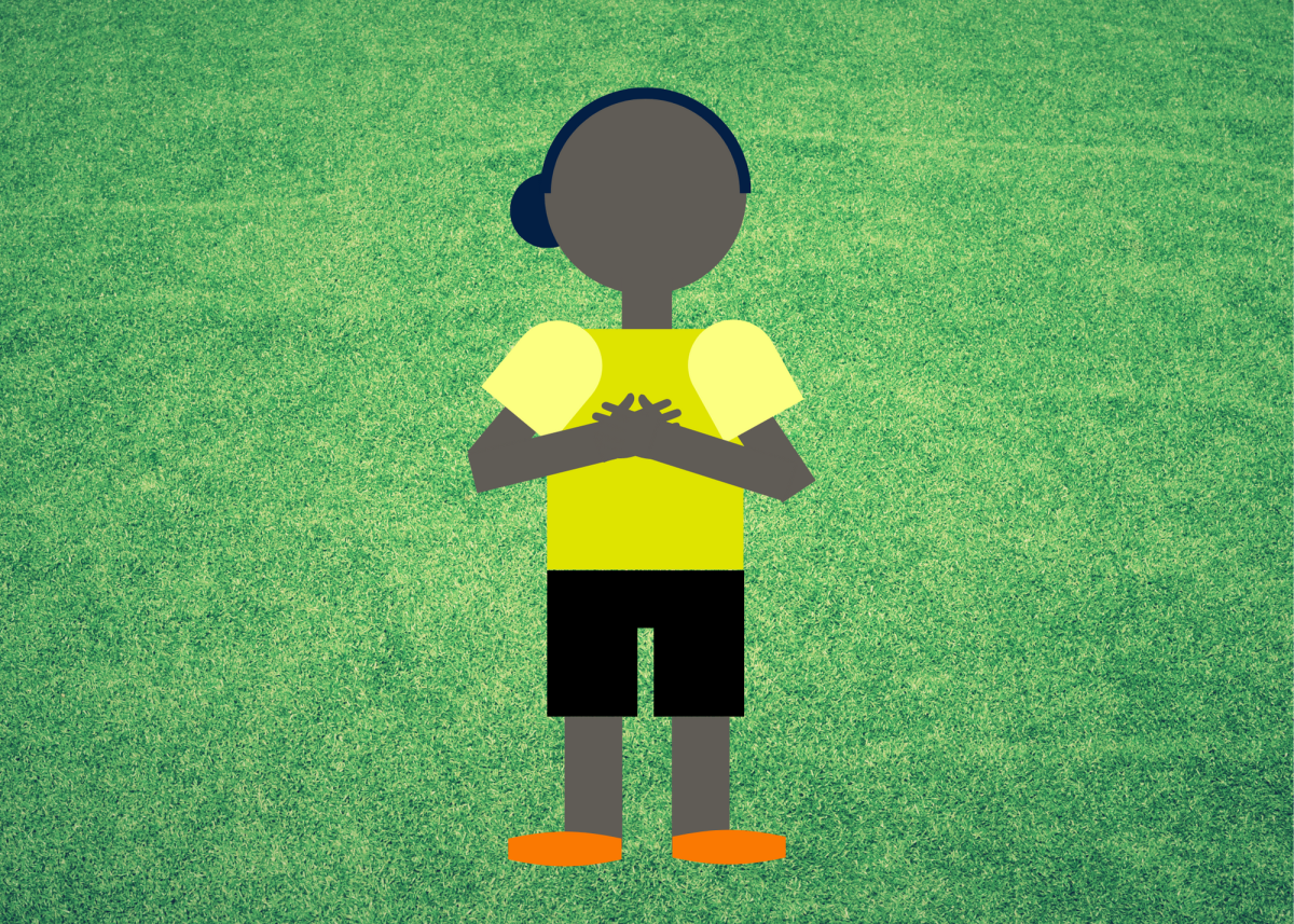 The referee will place their hands on their chest to signal an obstruction in play.