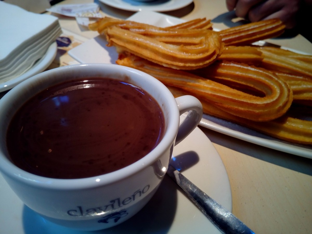 Churros are traditionally served with hot chocolate
