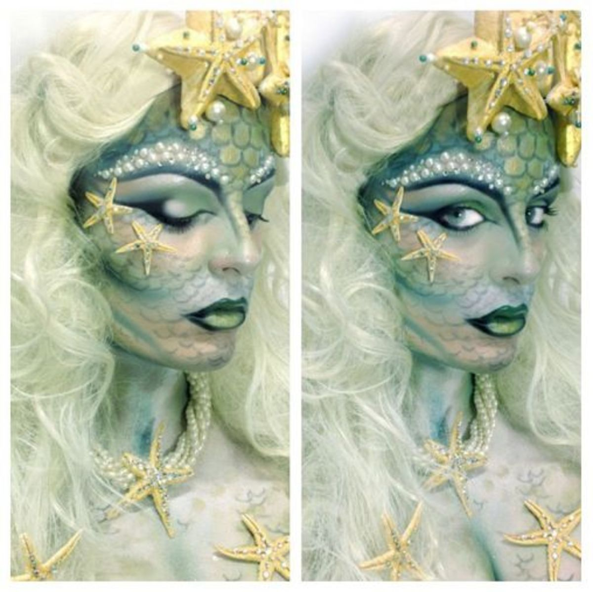 photograph of Cool mermaid makeup on woman