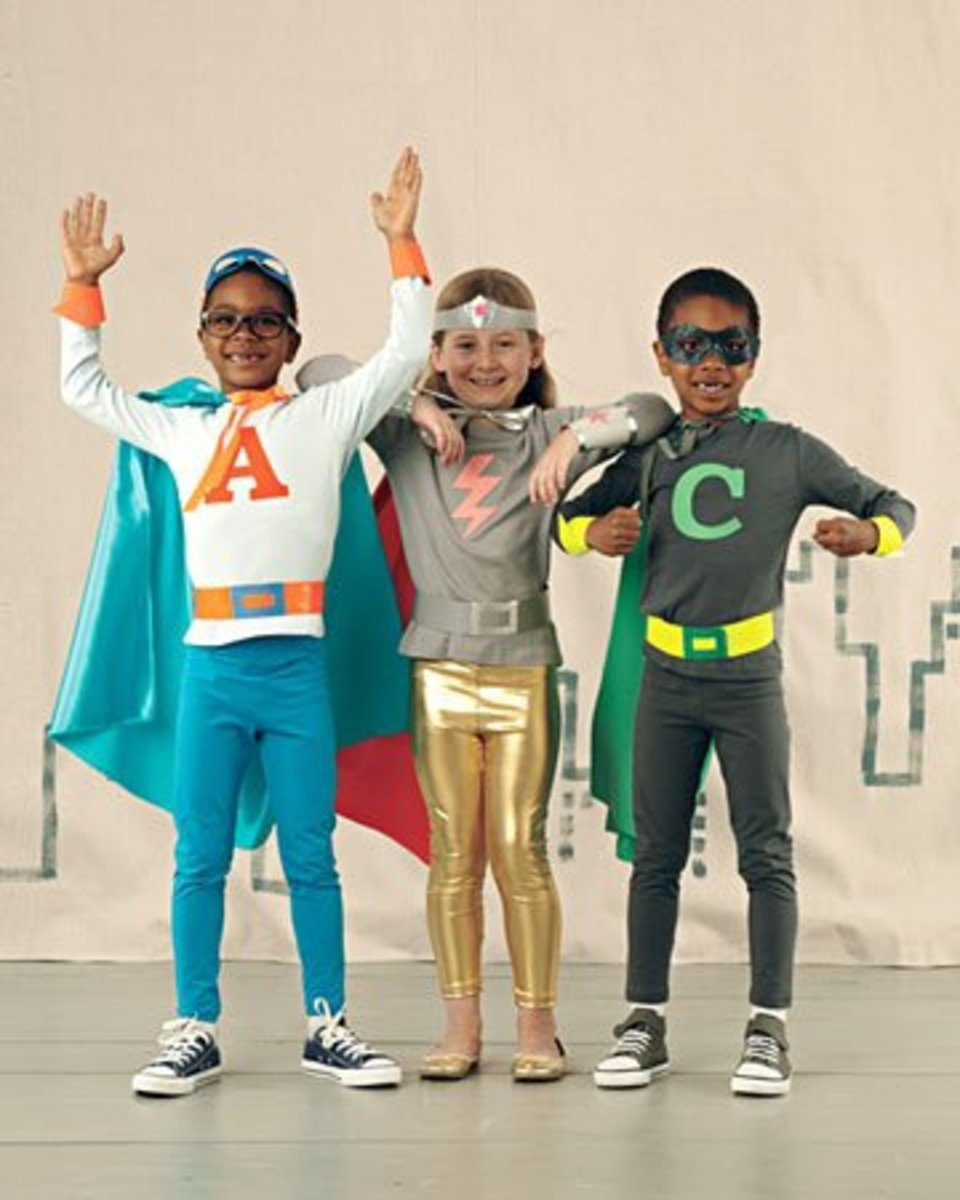 Superhero costumes the kids can help make, complements of MarthaStewart.com.