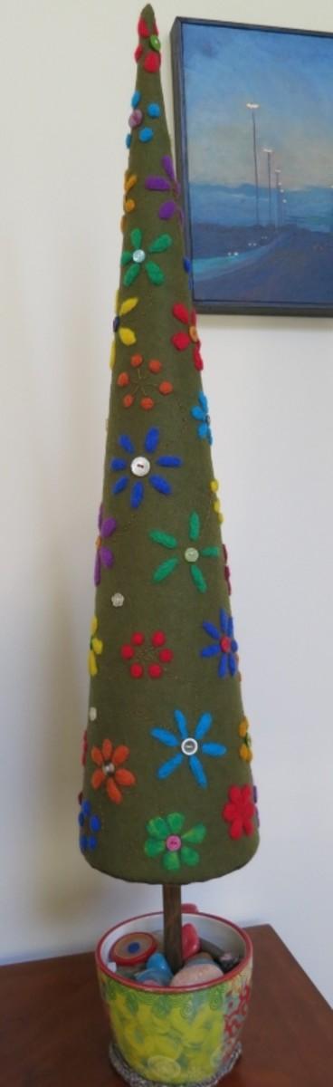 Decorated Needle Felted Tree
