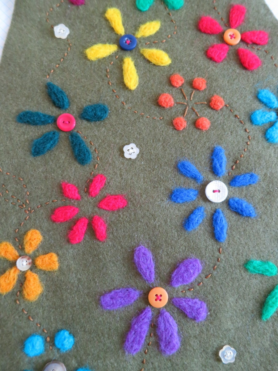 needle felted flowers and decoration