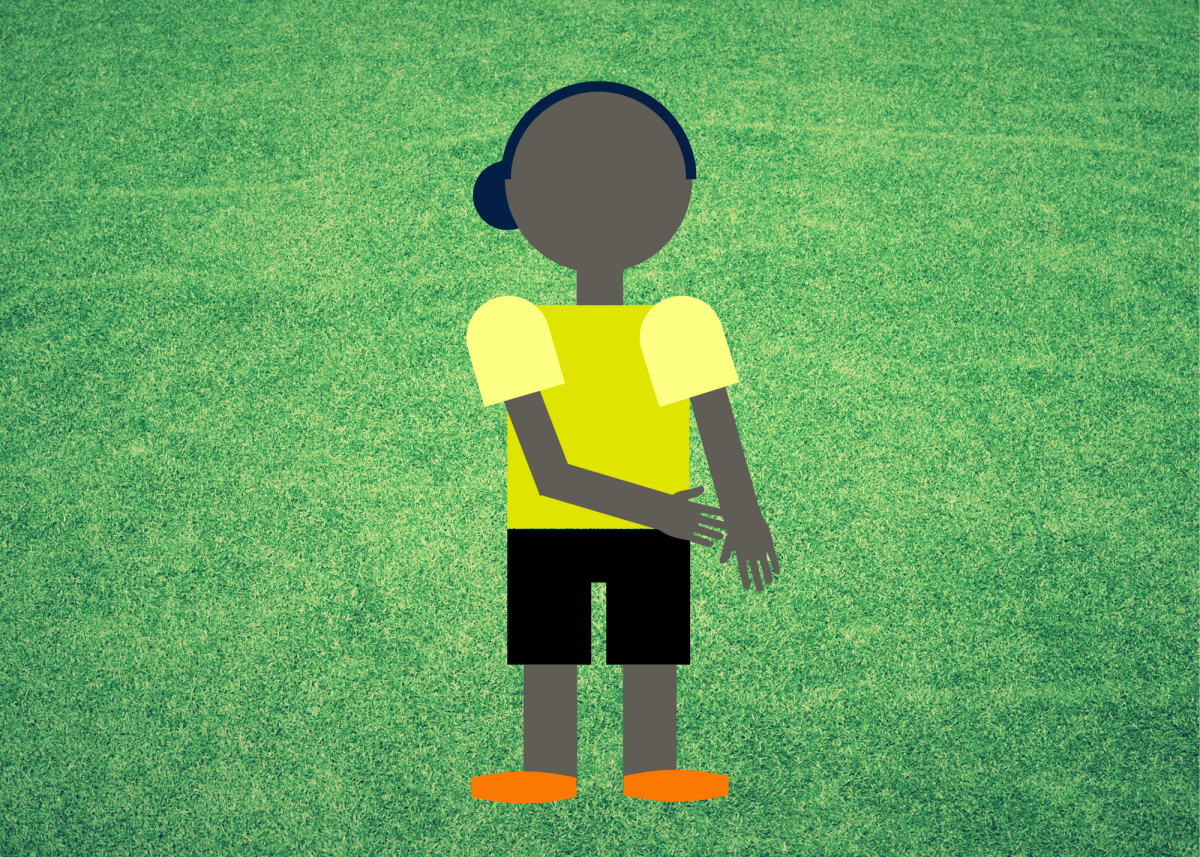 When the referee touches one of their hands, it typically signals a handball.