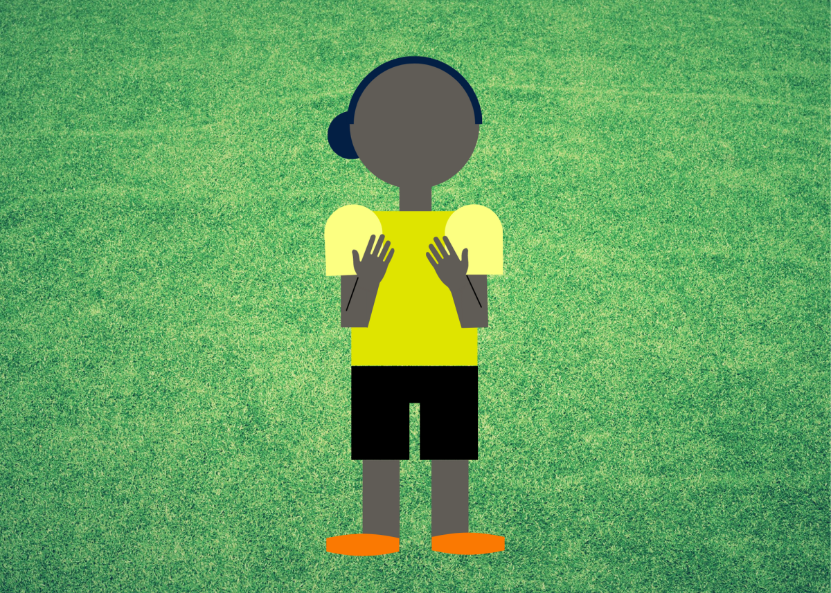 The ref will hold both hands in front of their chest to indicate that one player has committed a foul by pushing another player.