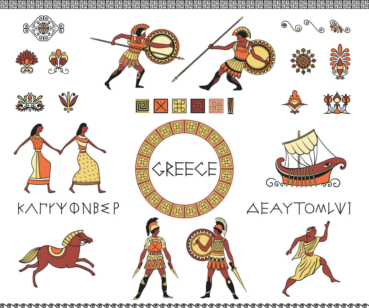 Antique Greece - A collection of decorative design elements - Greek letters of the alphabet, people, a ship, a horse, and decorative Grecian ornaments.