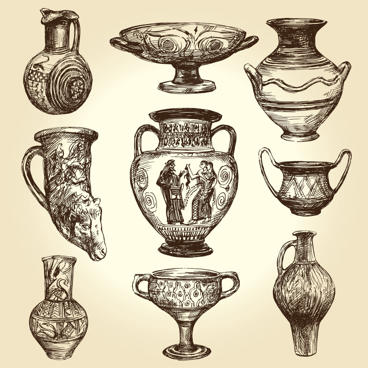 Greek vases with inscriptions of the Hellenistic Age.