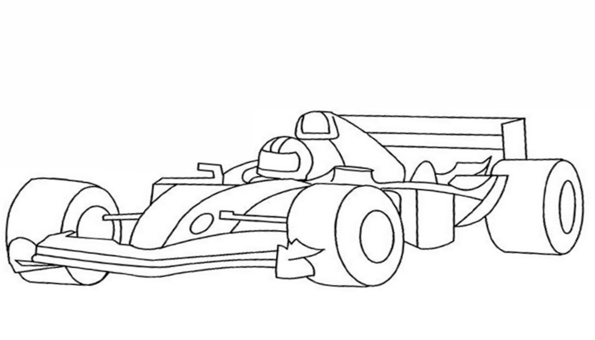 Free Educational Coloring Pages for use with home schooling or traditional school education on sports and other outdoor occupations -F1 Racing Driver