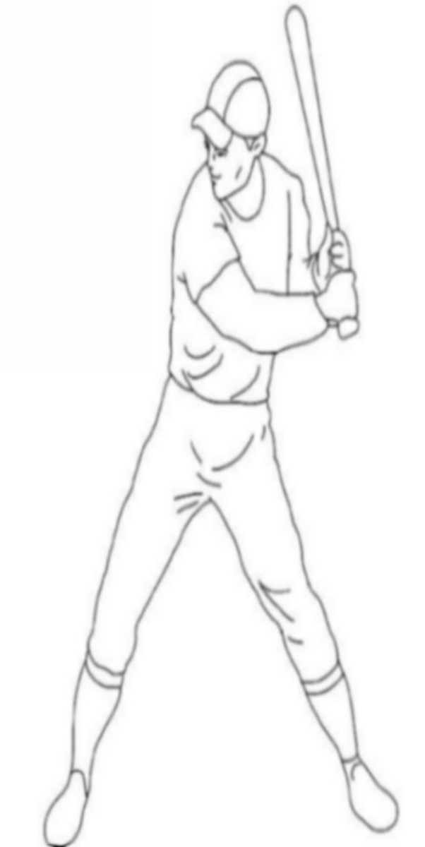 Free Educational Coloring Pages for use with home schooling or traditional school education on sports and other outdoor occupations - Baseball Player