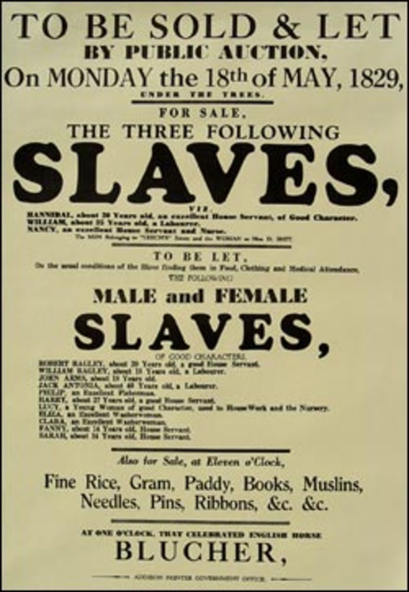 Posters from the time period of your topic - such as this poster advertising the sale of slaves - are considered primary sources.