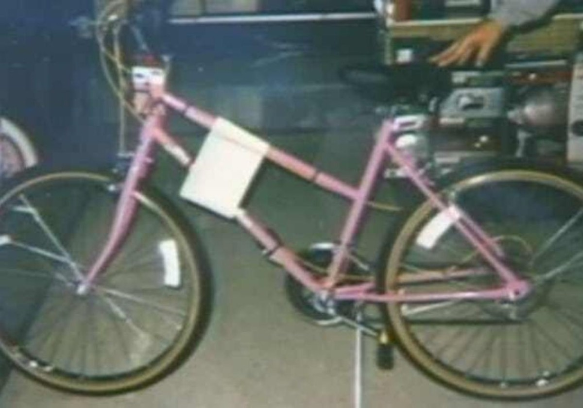 Tara Calico was last seen riding a pink Huffy mountain bike with yellow control cables and sidewalls. Tara's bike was never found. Photo courtesy of True Crime Times Blog.