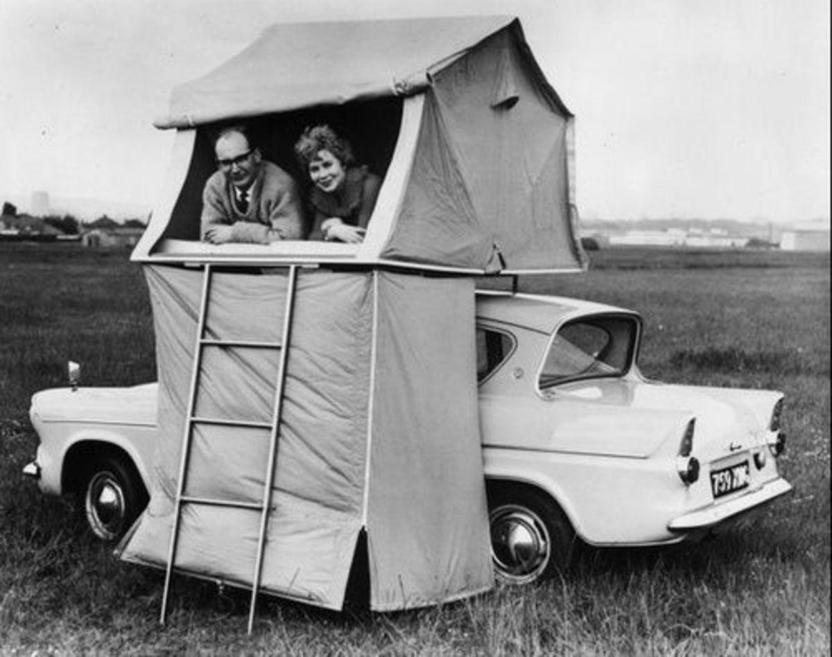 Vintage car camping