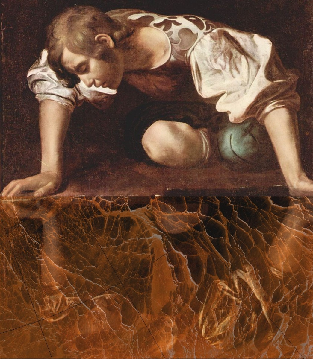 """""""Narcissus"""" by Caravaggio (1595), modified by """"A-Team.""""  The reflection is overlaid with the February 2012 sea ice cracks, as imaged from orbit.  Narcissus has broken his mirror...  Image courtesy A-Team."""